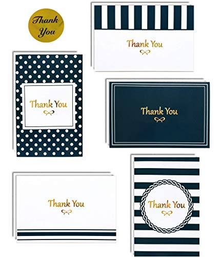 100 Thank You Cards Box Set with Gold Foil Letterpress | 4 x 6 Inches Bulk Blank Note Cards with Envelopes and Gold Stickers | Perfect for Wedding Bridal Shower Baby Shower Christmas Kids (Navy Blue)