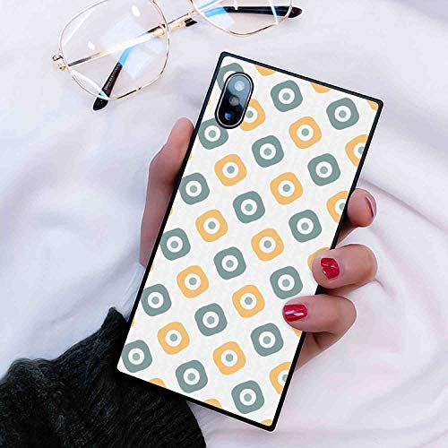 - Phone Case Fits for Apple iPhone 10 (2017)/iPhone X (2017)/iPhone Xs (2018) 5.8in Vintage Stylish Evil Eye Bead Amulet Like Figures Cubical Rounded Dotted Almond Green Apricot Mustard
