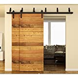 WINSOON 10ft Bypass Barn Door Hardware Sliding Kit for Interior Exterior Cabinet Closet Doors With Hangers(J Shape Roller)(4 Piece 5 Foot Rail)