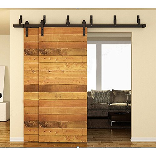 WinSoon 10FT Black Rustic Bypass Sliding Roller Heavy Duty Barn Double Wood Doors Hardware Flat Track Kit