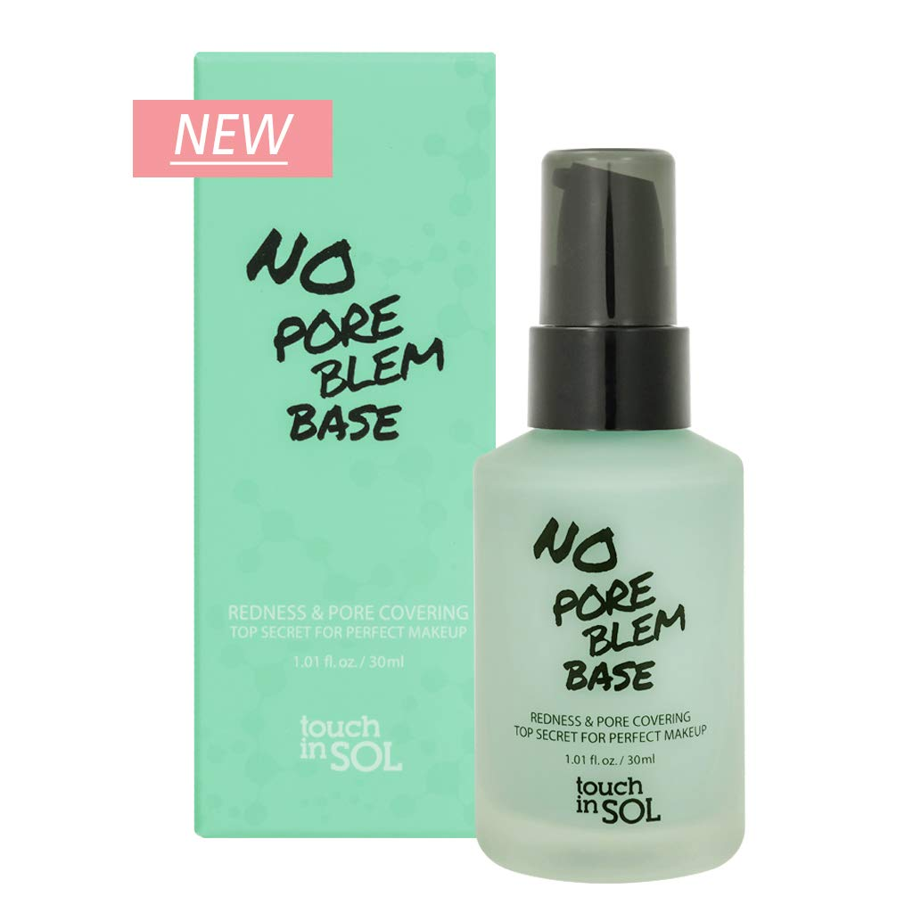 TOUCH IN SOL No Pore Blem Primer Base 1.01 fl.oz(30ml) - Redness & Pore Covering Green Toned Makeup Base Primer, Color Neutralizing before Foundation, Minimize Rosacea, Redness