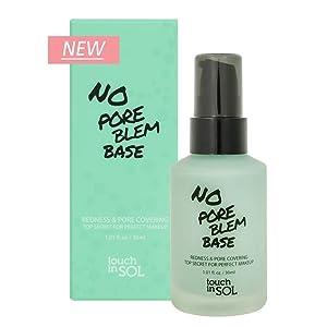 TOUCH IN SOL No Pore Blem Primer Base 1.01 fl.oz(30ml) - Redness & Pore Covering Green Toned Makeup Base Primer, Color Neutralizing before Foundation, Minimize Rosacea, Redness