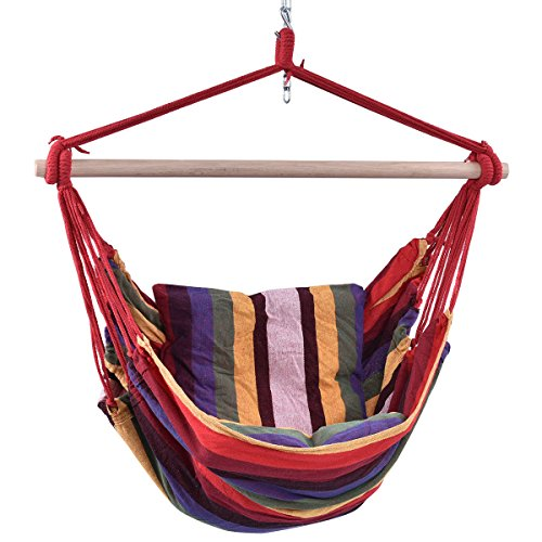 New Red Deluxe Hammock Rope Chair Patio Porch Yard Tree Hanging Air Swing Outdoor from Hammocks