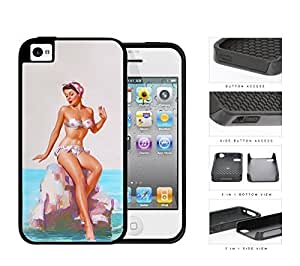 Pin Up Model Sitting On Rock Pose 2-Piece Dual Layer High Impact Rubber Silicone Cell Phone Case iPhone 4 4s