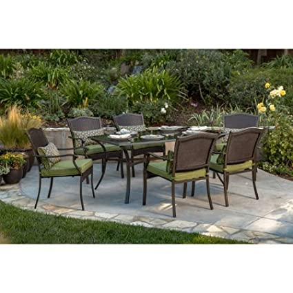 amazon com 7 piece steel woven wicker patio furniture dining set rh amazon com sturdy patio chairs sturdy porch furniture