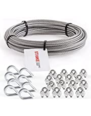 Seilwerk STANKE Verzinkt staaldraad 20m staalkabel 4mm 6x7, 8x vingerhoed, 16x kabelklem - SET 3