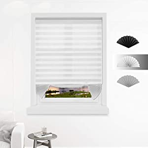 Allesin Temporary Cordless Blinds Light Filtering Fabric Pleated Shades for Windows, White 36 x 72 Inch - 6 Pack, Easy to Cut