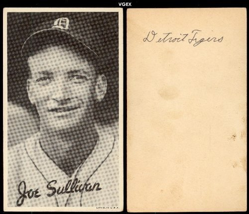 1936 Goudey R314 wide pen type 1 (Baseball) Card# 101 joe sullivan/portrait of the Detroit Tigers VGX Condition