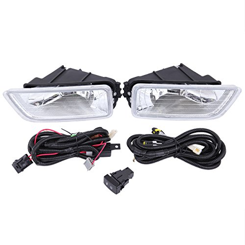 Ambienceo Clear Lens Bumper Driving Fog Light Lamp with Wiring Switch Kit for Acura TL Honda Accord 2003-2007 4 Doors