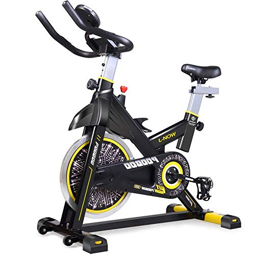 pooboo Indoor Cycling Bicycle, Belt Drive Indoor Exercise Bike,Stationary Exercise LCD Display Bicycle Heart Pulse Trainer Bike Bottle Holder by pooboo (Image #2)