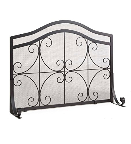 Crest Large Flatguard Fireplace Screen Wrought Iron Heavy Duty Metal Mesh Decorative Scroll Work Pewter, 44 W x 33 H Center, 27 1/4 H (Decorative Scroll Screen)