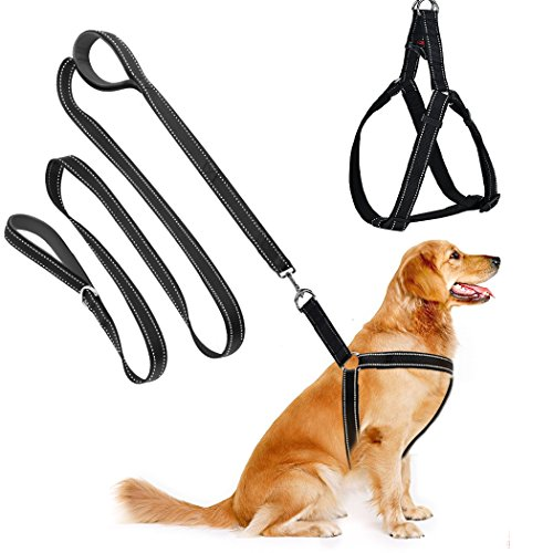 Cropal Dog Leash Harness with Traffic Handle , Reflective, Super Soft, Double Layer and Adjustable Heavy Duty Dog Leash Collar for Medium and Large Dogs (Strong Super Collar Adjustable)