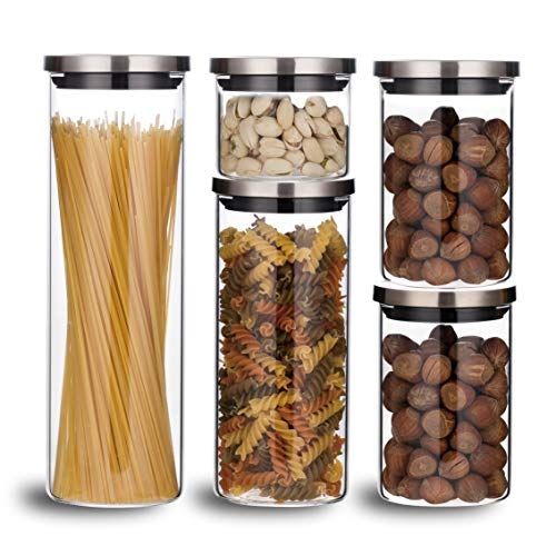 Balchy 5-Piece Canisters Sets with Silicone Seal Borosilicate Glass Jars Vacuum Seal for Tea Coffee Sugar Pop Flour Canister for Kitchen