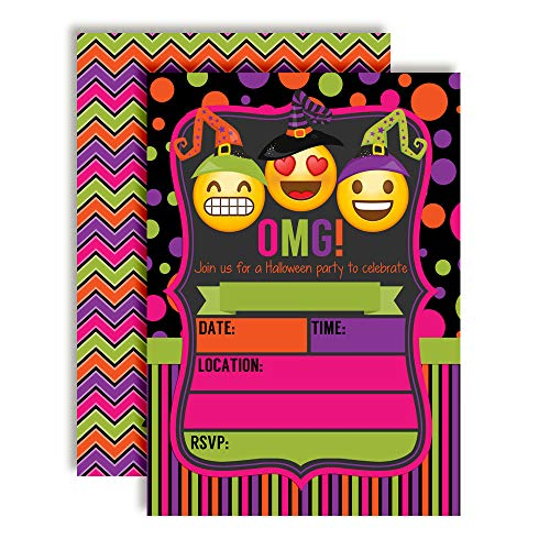 Neon Emoji Witches Halloween Birthday Party Invitations, 20 5