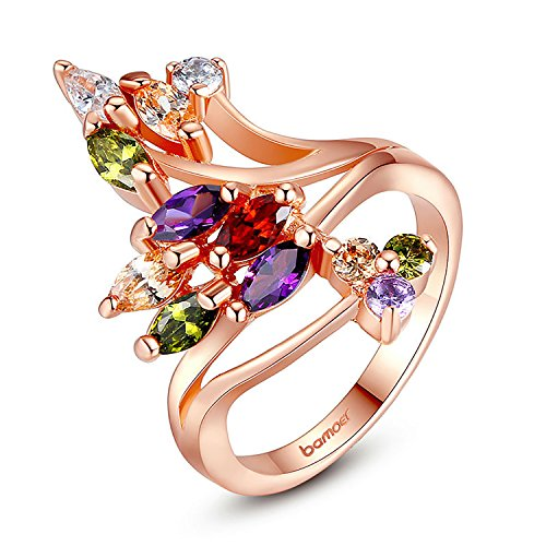 [BB-Ring Gold Color Finger Ring with Colorful Cubic Zircon Famous Brand Jewelry JIR048] (Famous Trios Costumes)
