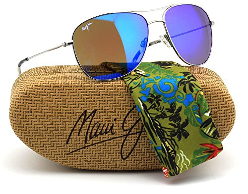 Maui Jim B247-17 Cliff House Polarized Sunglasses Silver Titanium Frame / Blue Hawaii - Discount Jim Maui