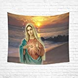 Thanksgiving/Christmas Gifts Christian Religious Virgin Mary Cotton Linen Wall art Hippie Tapestries Hanging Bedroom Living Room Dorm Decor Size 60 X 51 inches