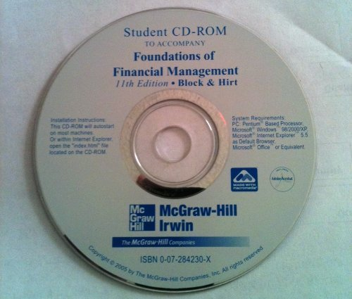 Student CD to accompany Foundations of Financial Management (The Mcgraw-Hill/Irwin Series in Finance, Insurance, and Real Estate) by McGraw-Hill/Irwin