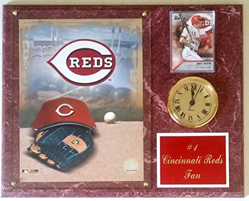 """Frames, Plaques and More Cincinnati Reds 12""""x15"""" #1 Fan Red-Marbleized Clock Plaque"""