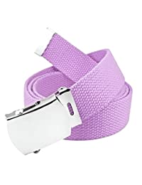 Classic Silver Men's Military Slider Belt Buckle with Canvas Web Belt Medium Pastel Purple