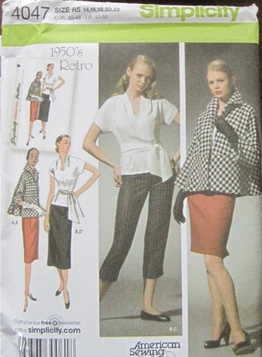 - SIMPLICITY PATTERN 4047 MISSES' CROPPED PANTS, SKIRT IN TWO LENGTHS, TOP, SASH AND LINED JACKET SIZE R5 14-22