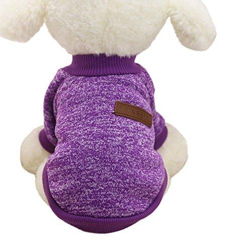 Mikey Store Pet Dog Clothes Soft Thickening Warm Stripe Polar Fleece Winter Clothes (Purple, L)