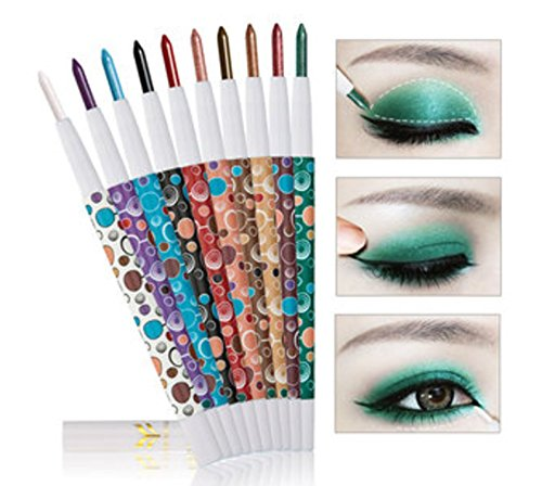 10Pcs Waterproof Highlighter Glitter Eye Shadow Pen Matte Eyeshadow Pencil Makeup Tool by ()