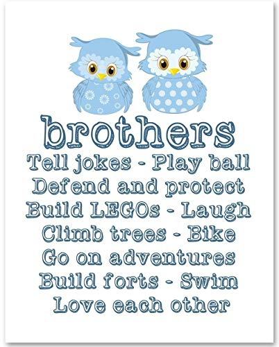 Brothers Nursery Art - 11x14 Unframed Art Print - Makes a Great Gift Under $15 for Nursery or Child's Room Decor ()