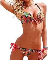 iecool Women's Sexy Floral 2Pcs Bow Push Up Padded Bikini Bathing Suit