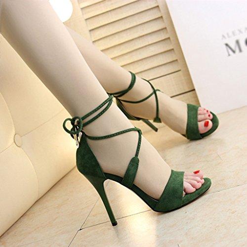 Zapatos de Mujer Sandalias de Tacón Alto Tacones Finos Bellas Cruces Taiwán Discotecas Sandalias 10 cm Gamuza Green