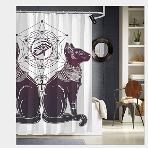 Pillow Bags Intage Hand Drawn Cat Figure Sacred Geometry Shapes Tattoo Art Shower Curtain Fabric Bathroom Decor Set with Hooks 72 x 72 inch