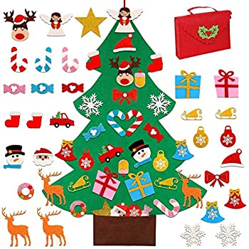 OurWarm DIY Felt Christmas Tree for Kids, 3ft Christmas Tree with 30pcs Glitter Ornaments for Xmas Gifts Christmas Door Wall Hanging Decorations