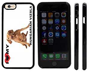 Rikki KnightTM I Love My Hungarian Vizsla Dog Design iPhone 6 Case Cover (Black Rubber with front bumper protection) for Apple iPhone 6