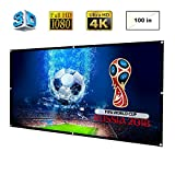 100 Inch Projector Screen - DOACE Portable 100 Inch HD Video Projector Screen 16:9 Indoor Outdoor, Foldable Anti-crease Movie Screen Made of High Contrast Collapsible PVC for Home Cinema Theater Support Double Sided Projector