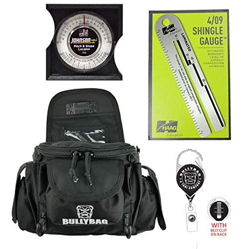 BullyBag & Tool Co. 5 pack: BullyBag Ultra Pouch + Haag Shingle Gauge, Johnson Pitch Gauge, with BullyBag Badge & BullyBag Gear Retainers
