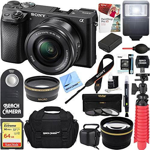 (Sony ILCE-6500 a6500 4K Mirrorless Camera (Black) w/ 16-50mm Power Zoom Lens + 32GB Accessory Bundle + DSLR Photo Bag + Extra Battery + Wide Angle Lens+2X Telephoto Lens +)