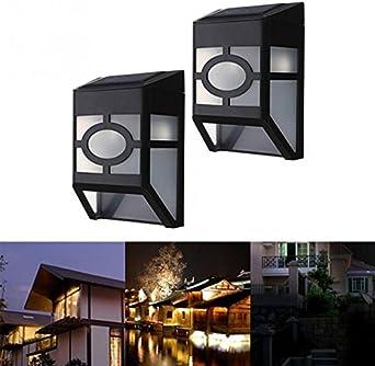 Yocitoy solar cubierta luces pared montaje impermeable luz sensor LED jardín iluminación exterior para valla escaleras escalera patio estanque piscina 2 Pack(White Light): Amazon.es: Iluminación