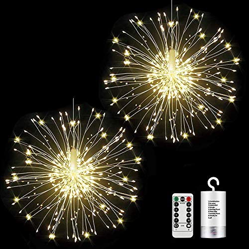 2 Pack Firework Lights 120 led Copper Wire Starburst String Lights 8 Modes Battery Operated Fairy Lights with Remote,Christmas Decorative Hanging Lights for Party Patio Bedroom Christmas Decoration