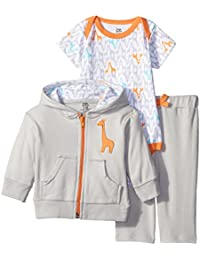 Baby-Boys 3 Piece Fox Track Jacket Bodysuit Pant Set