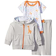 Yoga Sprout Baby-Boys 3 Piece Fox Track Jacket Bodysuit Pant Set