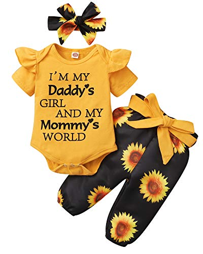 SUNNY PIGGY Newborn Infant Baby Girl Clothes Romper Sunflower Baby Girl's Clothing Onesis Pants Set Toddler Girl Outfits