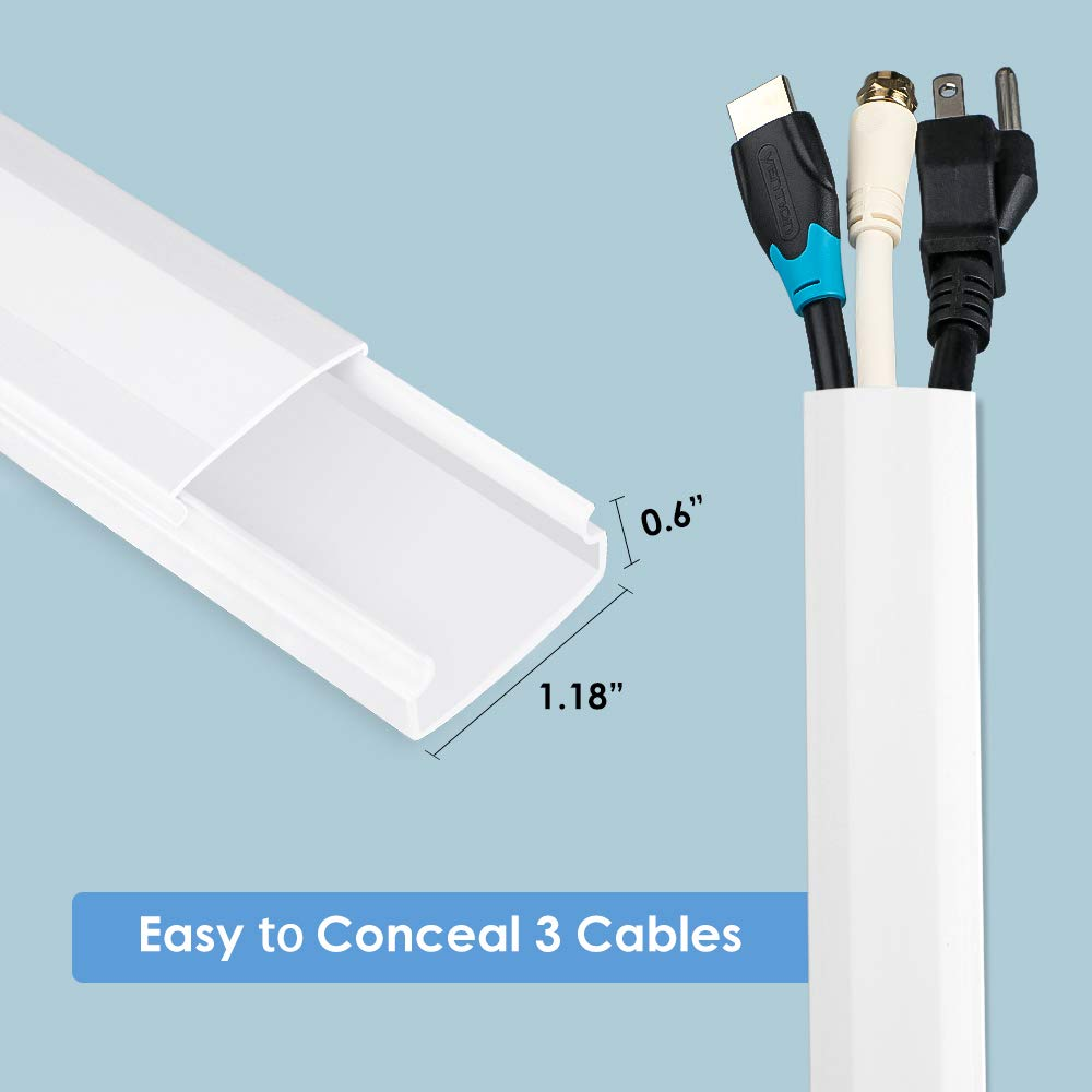 250'' Upgrade Cable Concealer - On-Wall Cord Cover Raceway Kit - 16 Cable Covers - CMC-02 Large Wire Hider - Paintable Cable Management Channel for Wall Mounted TV - L15.7 inch, W1.18 H0.6 inch, White by Yecaye (Image #5)