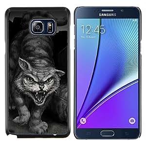 EJOOY---Cubierta de la caja de protección para la piel dura ** Samsung Galaxy Note 5 5th N9200 ** --Pintura del gato de tigre salvaje héroe Monster