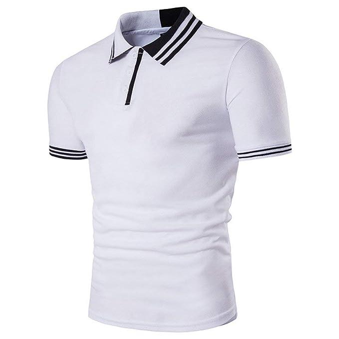36e53b678ef POLP Hombres Polos Manga Corta Básico Polo con Botones Camisetas de Cuello  de Solapa Casual Verano Camisa Sport Sudaderas Hombre sin Capucha  S M L XL 2XL  ...