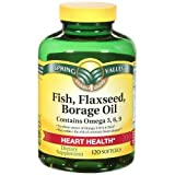 Spring Valley – Fish, Flaxseed, Borage Oil, Omega 3, 6, 9, 120 Softgels, Health Care Stuffs