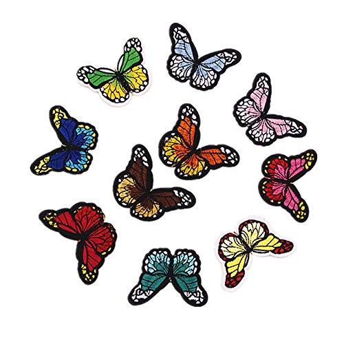 Zehui–Ropa de verano tela insignias bricolaje Prendas de vestir accesorios 10colores mariposa parches para ropa...