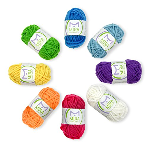 Mira Handcrafts 8 Yarn Skeins - Total of 176 Yards DK Yarn for Crafts, Knitting and Crochet - 7 Ebooks with Yarn Patterns Included - Great Starter Kit]()