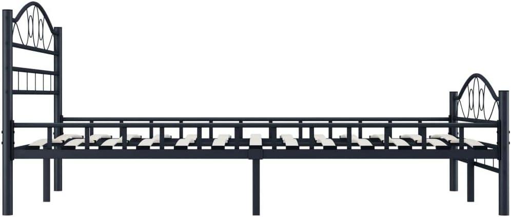 UnfadeMemory Bettgestell Bettrahmen Stahl Schwarz Metallbettrahmen G/ästezimmer Metallbett Jugendbett mit Sperrholzlatten ohne Matratze Klassisches Look 120 x 200 cm, Schwarz - A