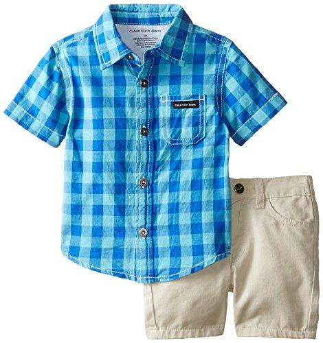 Calvin Klein Baby Boys' Ligh Plaid Shirt with Shorts, Blue, 18 Months