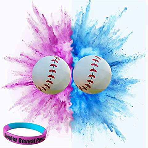 Gender Reveal Baseballs   Wristband Add-on BONUS   Gender Reveal party supplies kit includes Pink and Blue Exploding Balls filled with powder   Team Baby Boy & Team Baby Girl   By (Exploding Smoke Bombs)